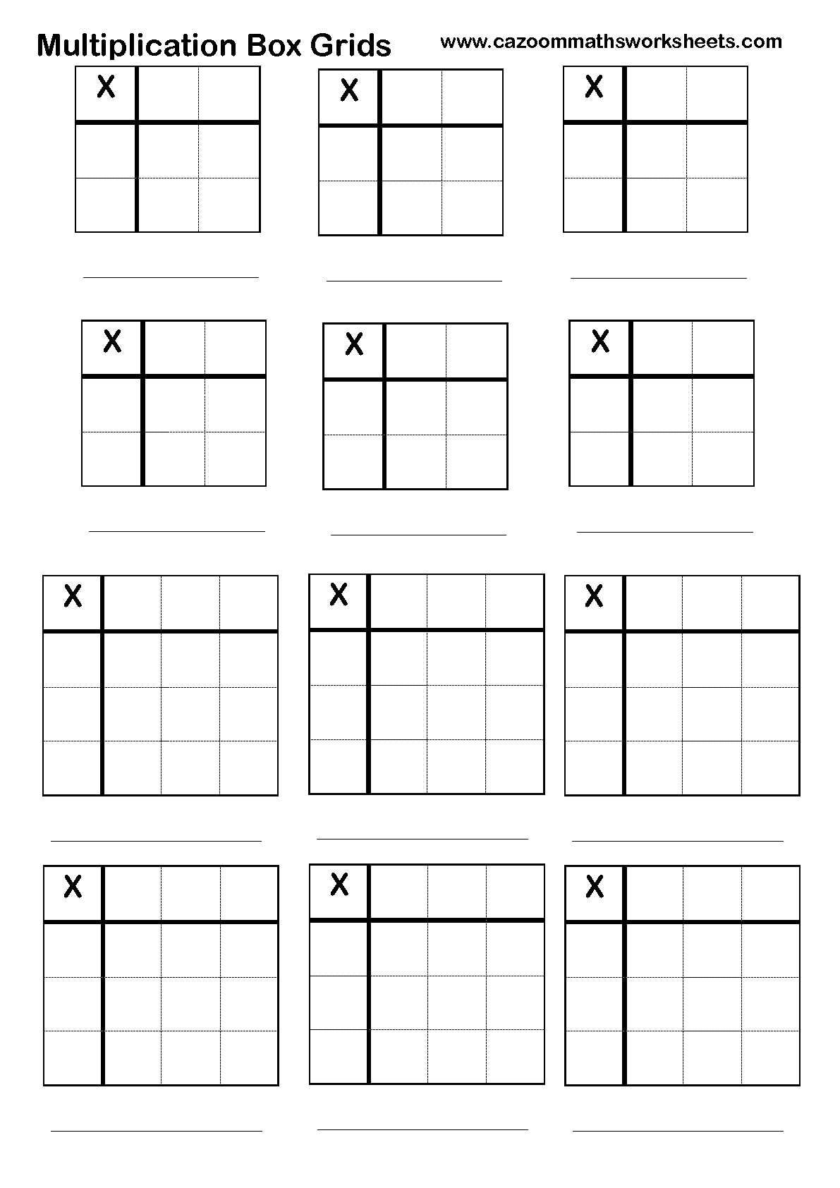Area Model Multiplication Worksheet To Print