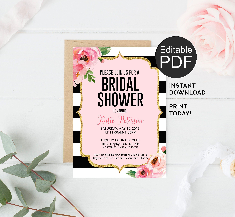Kate Spade Bridal Shower Invitation Editable Template
