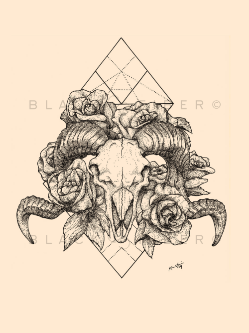 Love the backdrop to this. Ram skulls, flowers and