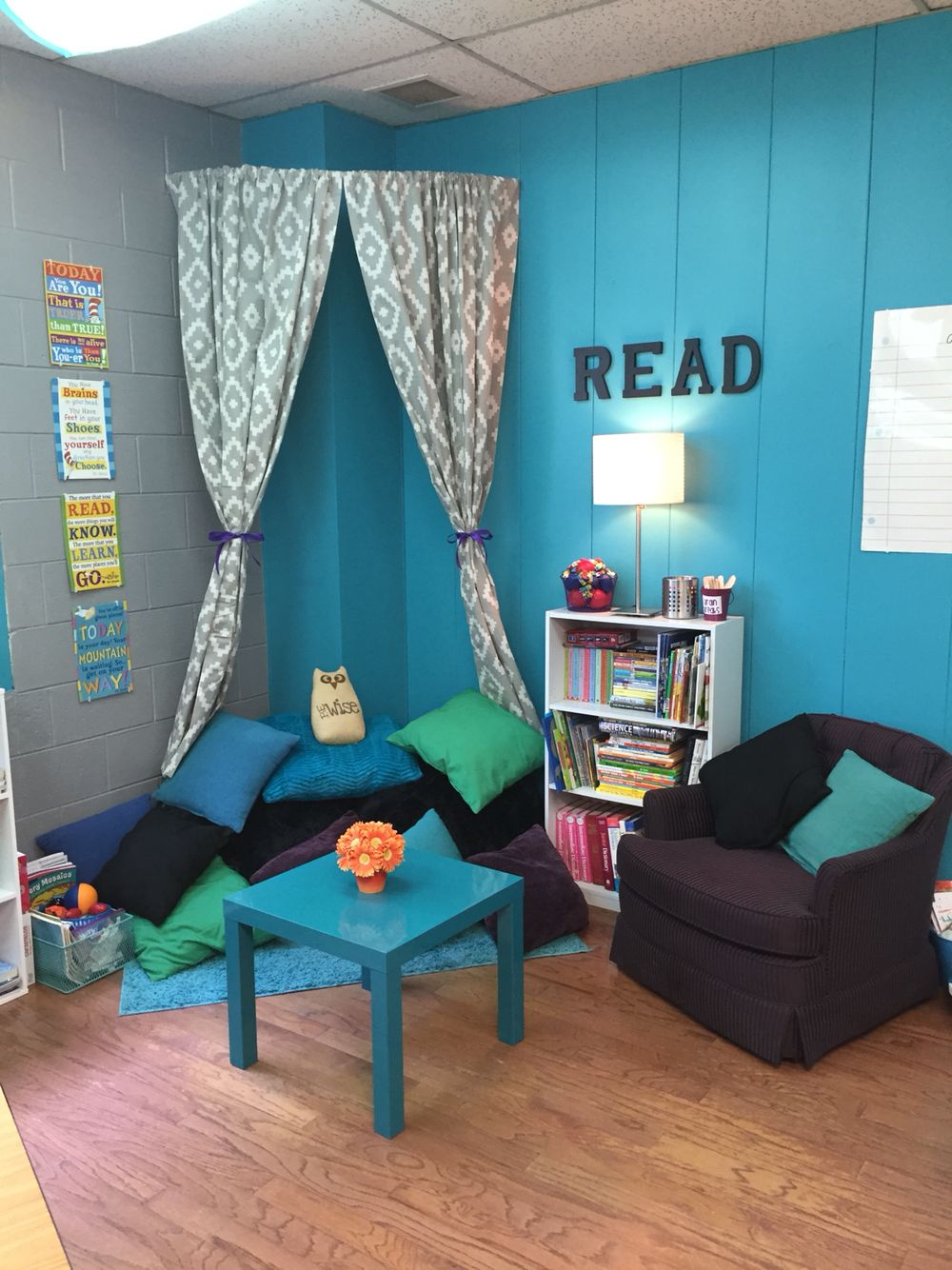 classroom reading nook curved shower rod curtains and