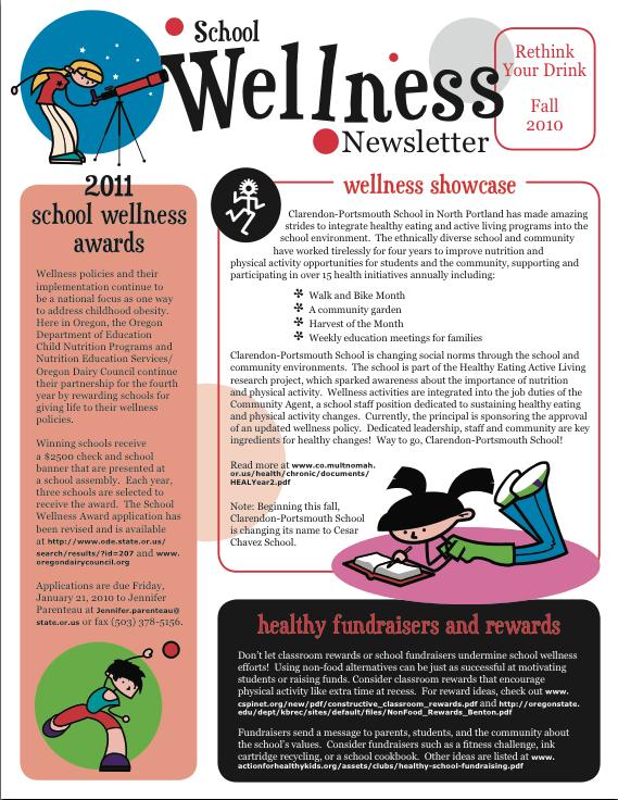 School Wellness Newsletter FA2010 PTA Meetings