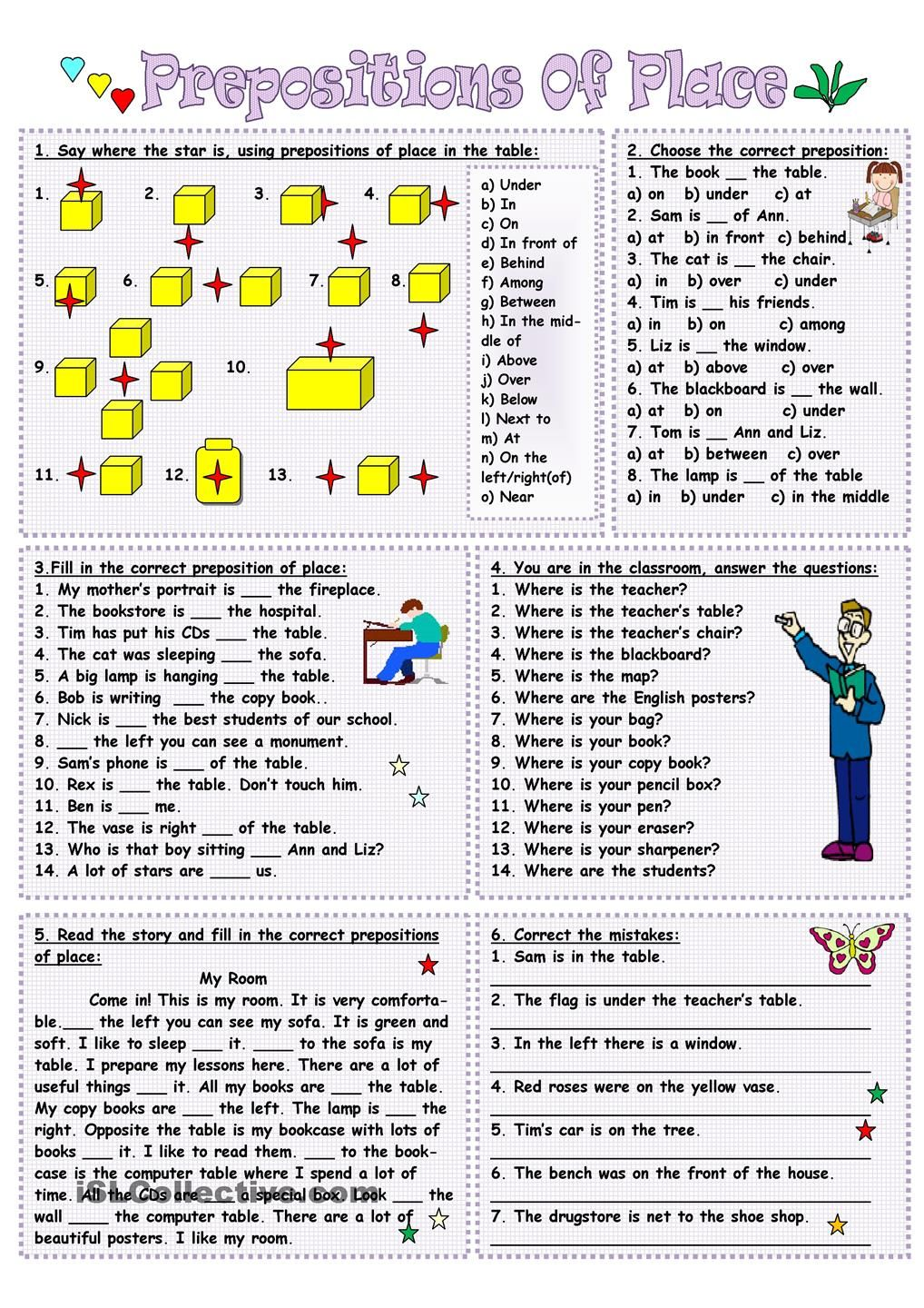 Prepositions of place ESL Ideas Pinterest