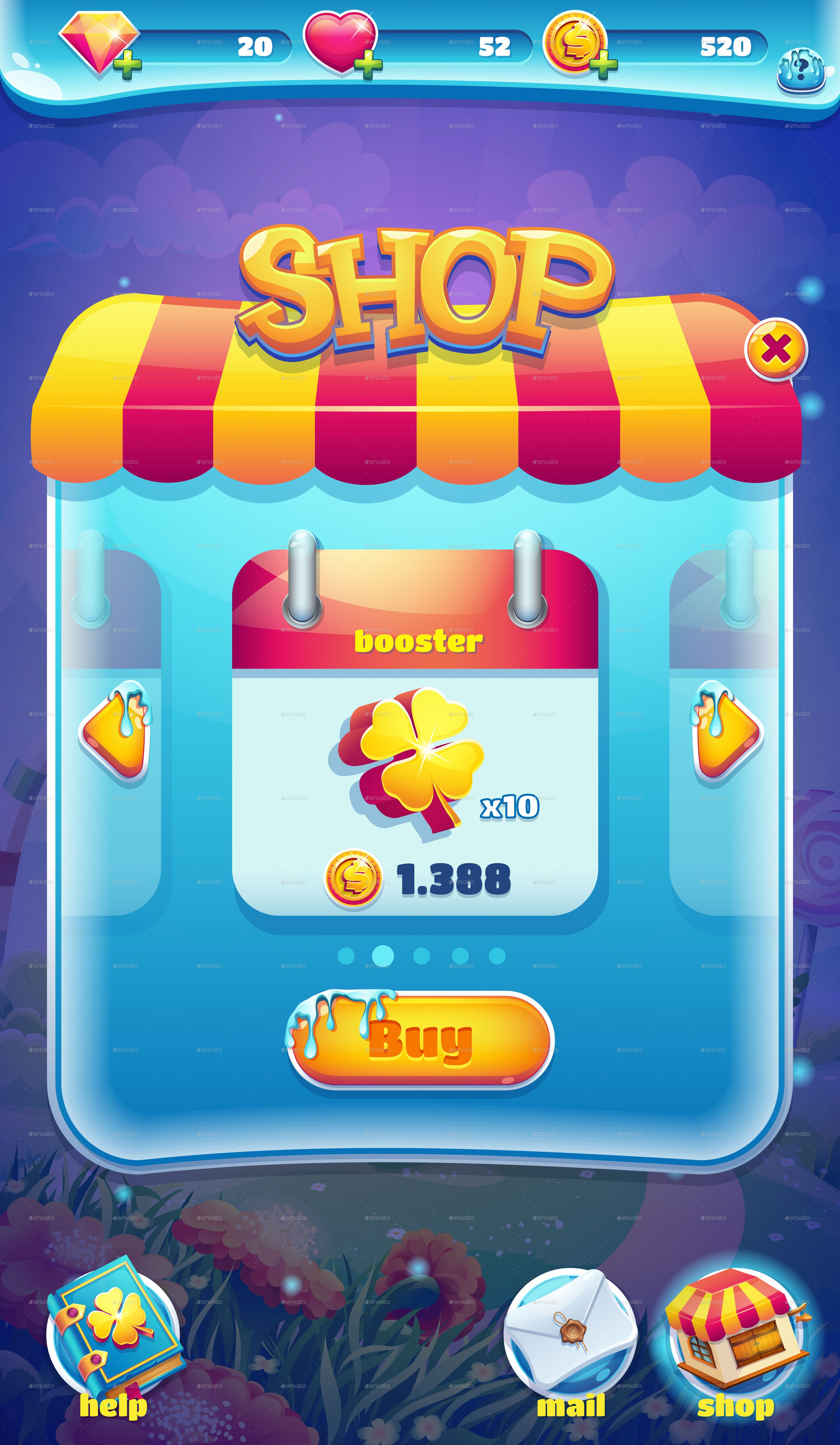 Sweet world candy shooter mobile GUI game ui Pinterest