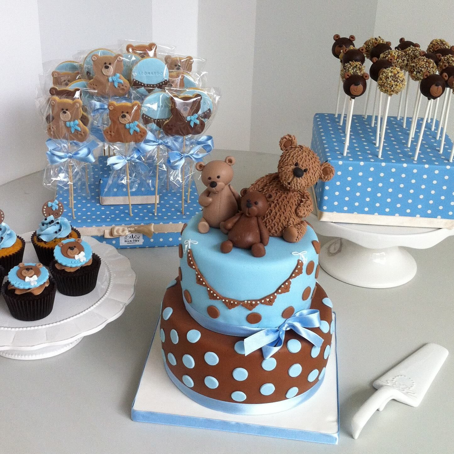 Teddy Bear Blue White And Grey Silver With The