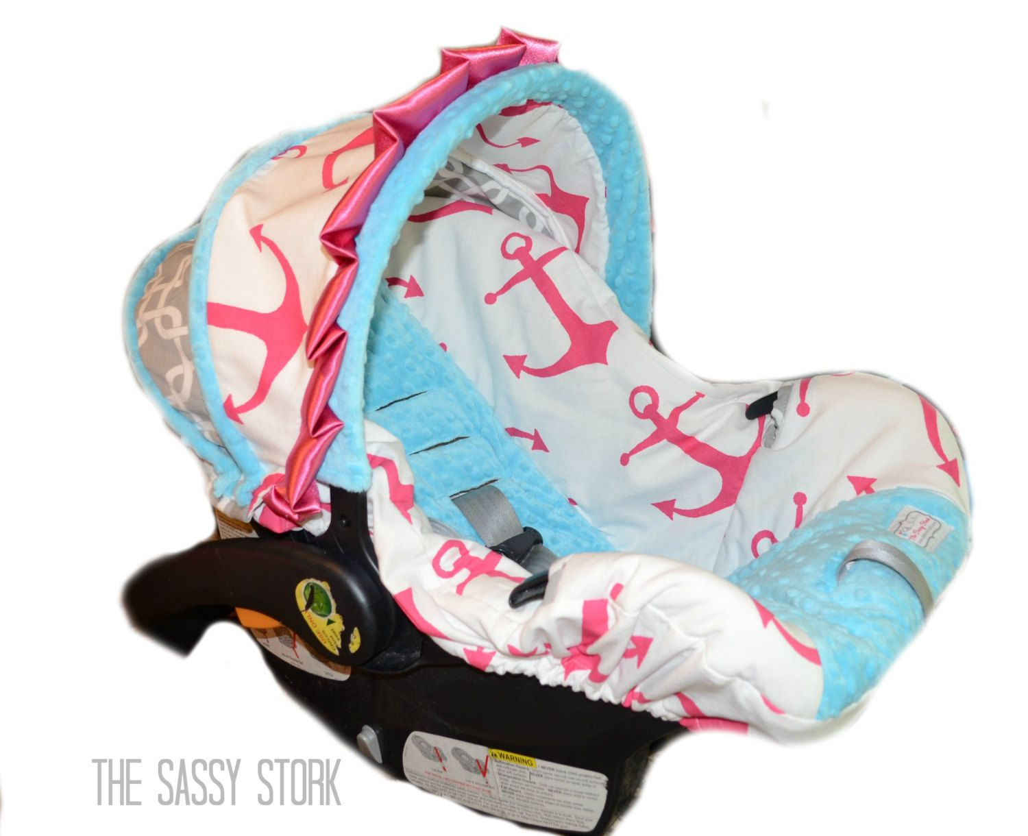Pink Aqua Anchor and Grey Infant car seat cover ready to