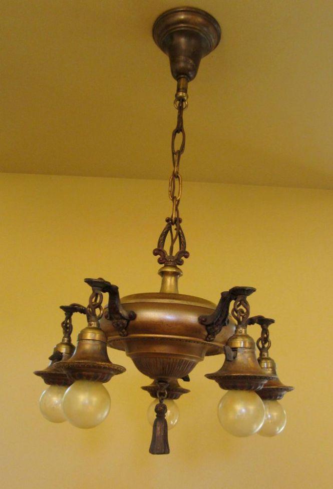 Dining Room Vintage Lighting Antique 1920s Brass Pan Chandelier 850 16 W X 29 1