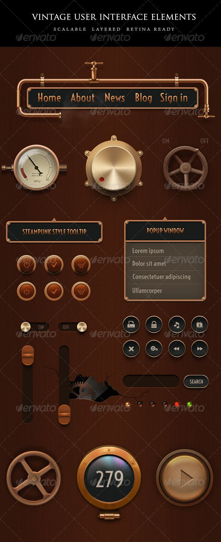 Vintage Steampunk UI Set User interface, Vintage and Game ui