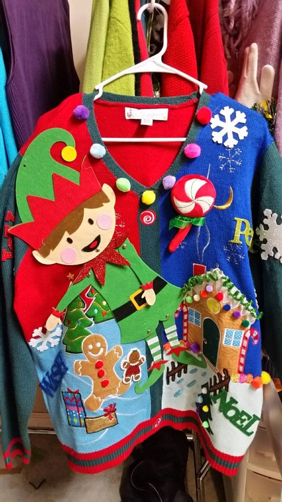 Ugly Christmas Sweater Elf Gingerbread House by