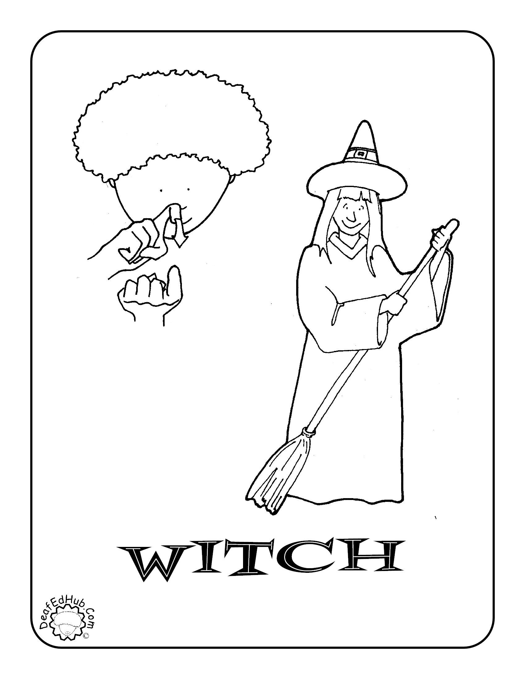 Asl Witch Coloring Page