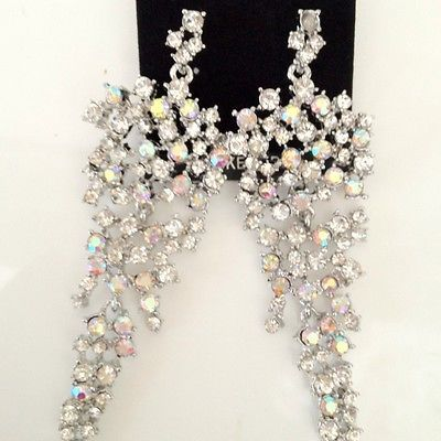 Costume Jewelry Ab Diamante Cer Crystal Chandelier Earrings Bollywood Indian Silver Long