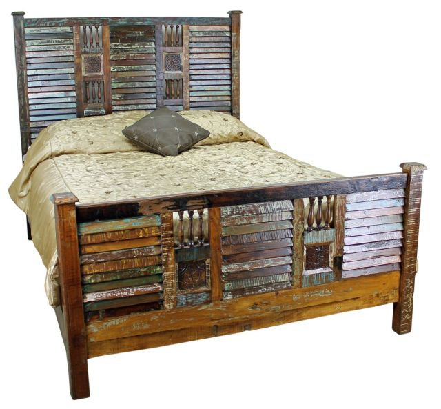 Mexicali Rustic Wood Bed Set Furniture