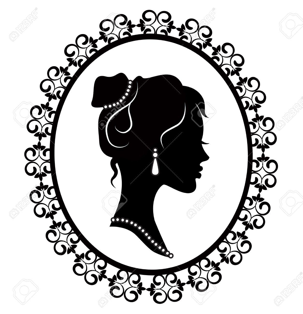 Retro Silhouette Profile Of A Young Girl In A