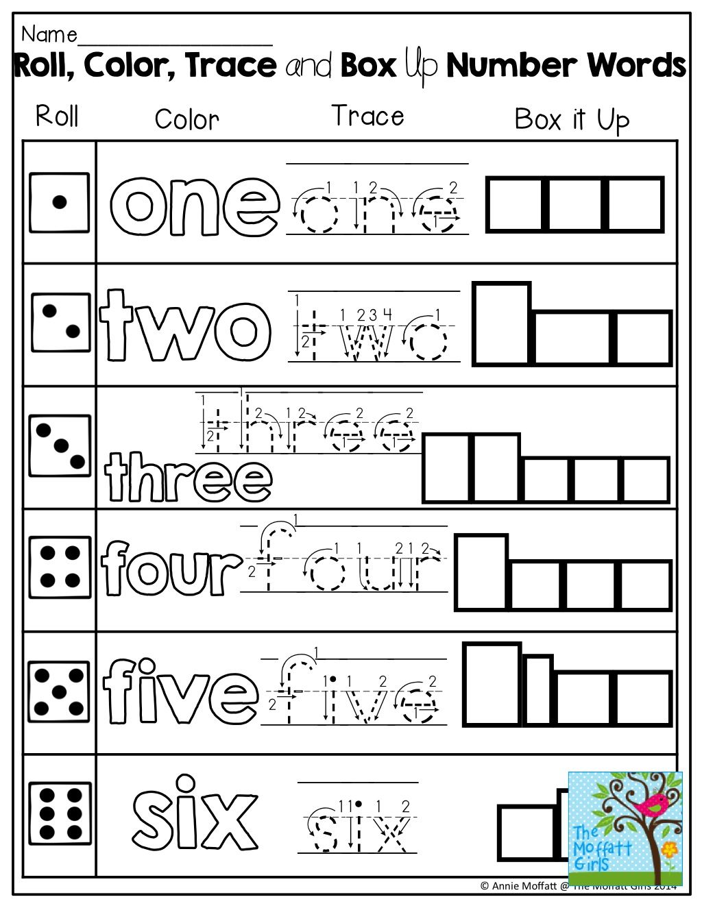 Learning Number Words Roll A Color Trace Or Box Up
