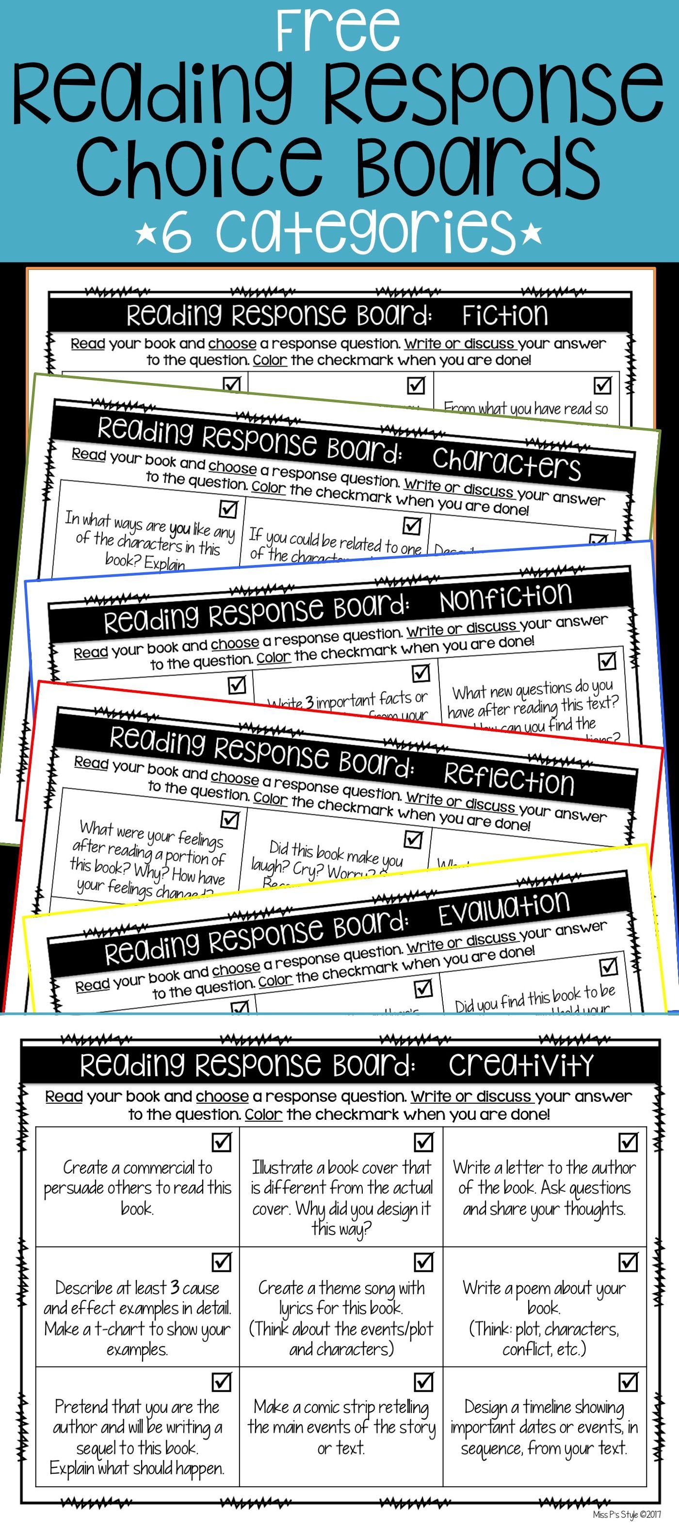6 Free Reading Response Choice Boards