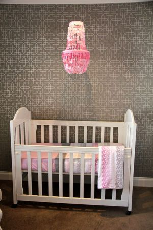 Pink Capiz Shell Nursery Chandelier In A Modern And Gray Baby Room With