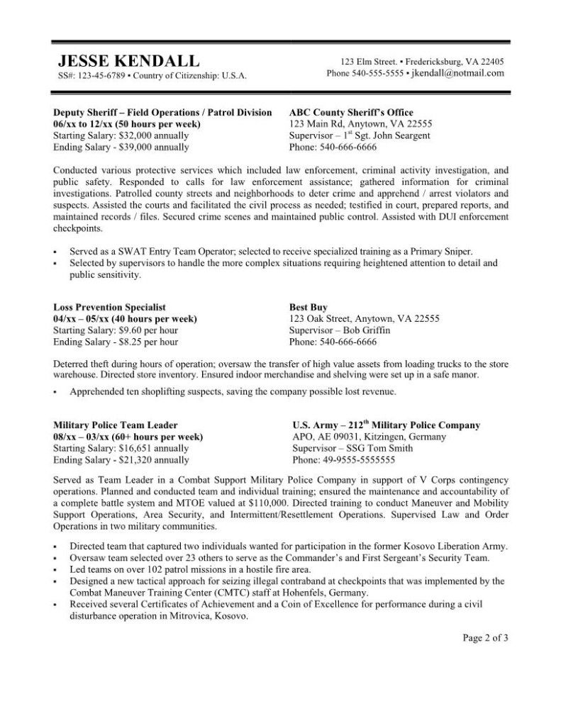 A Sample Federal Resume. government resume example template ...