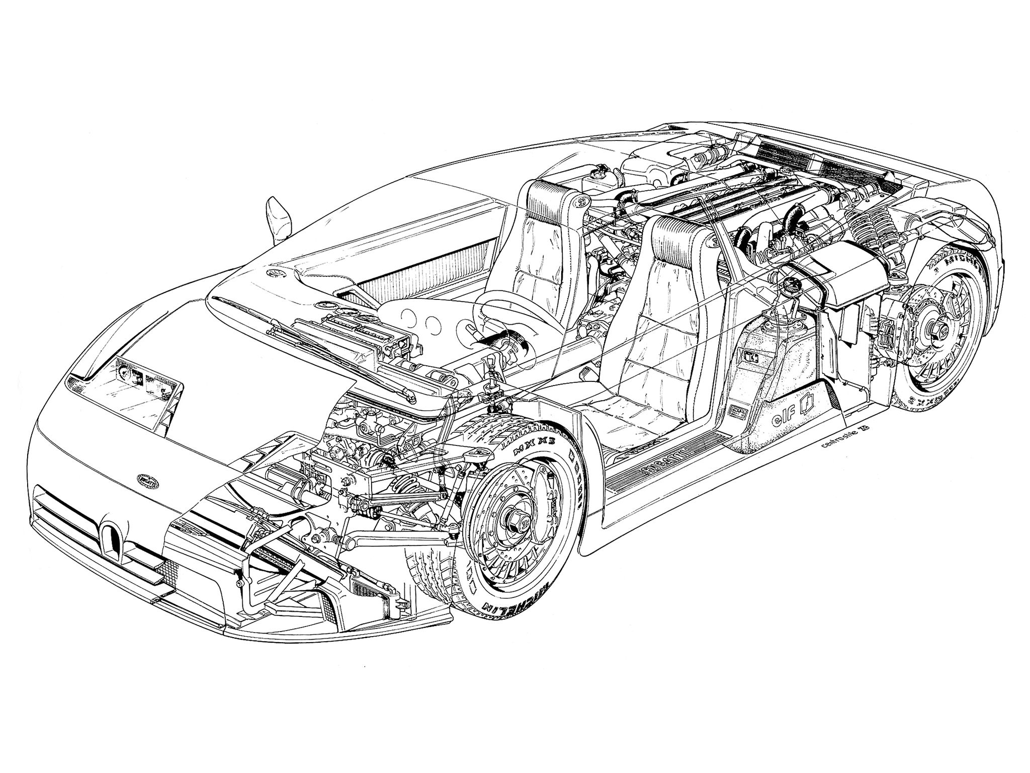 1992 1995 bugatti eb110 gt illustrator's name illegible