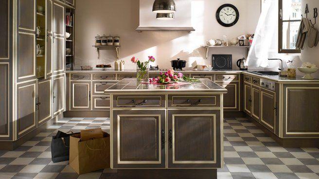 cuisine sol damier gris et blanc pose droite