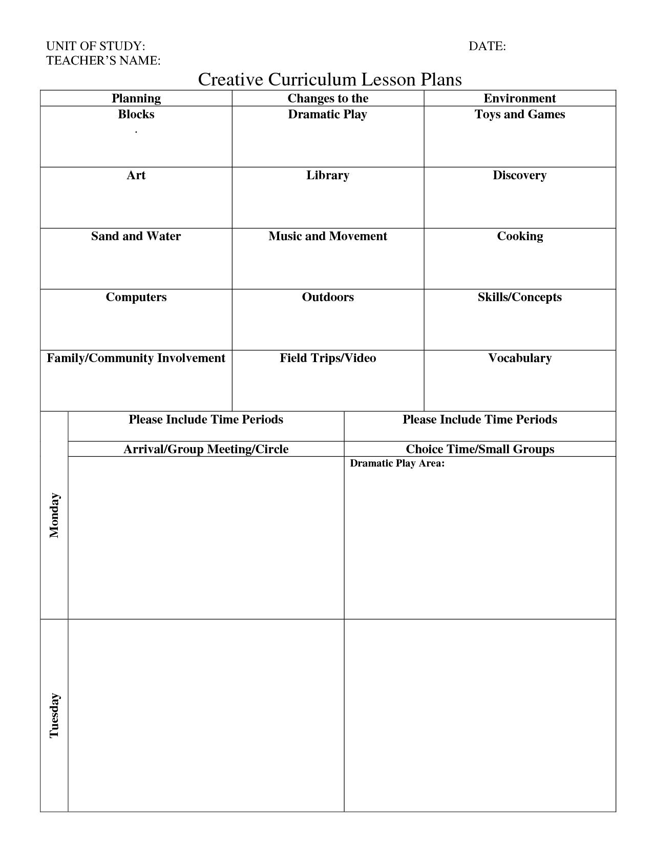 Print Creative Curriculum Lesson Plan