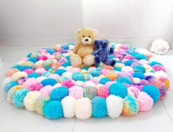 unicorn coloured pom pom rug - girls bedroom rug - fluffy, cozy