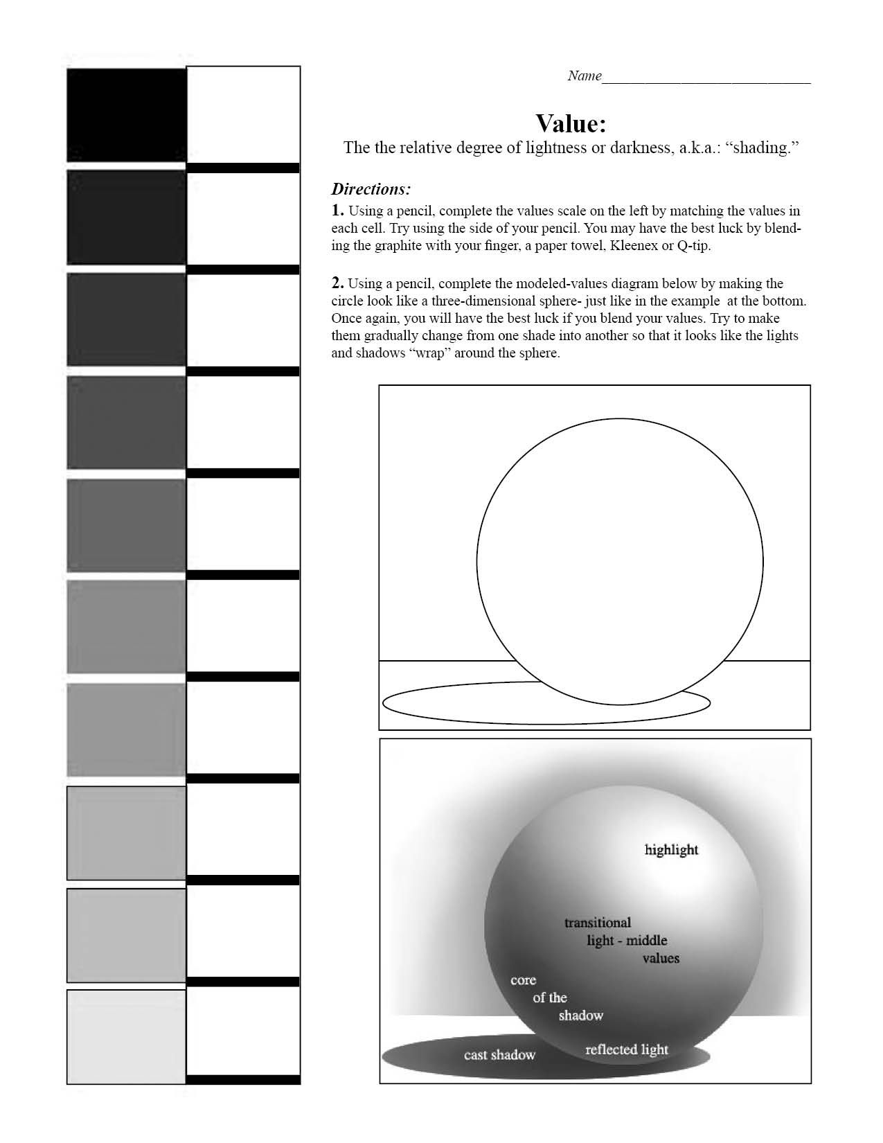 Value Scale And Sphere Worksheet Blending Value Shading