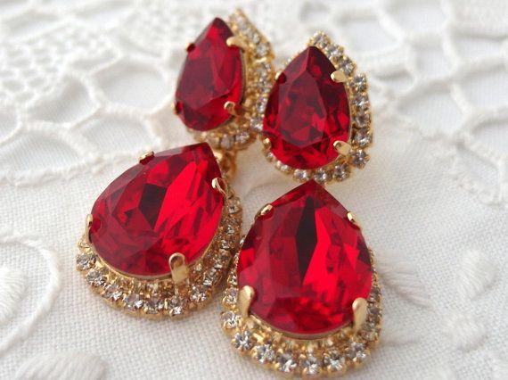 Red Swarovski Crystal Chandelier Earrings By Eldortinajewelry 84 00