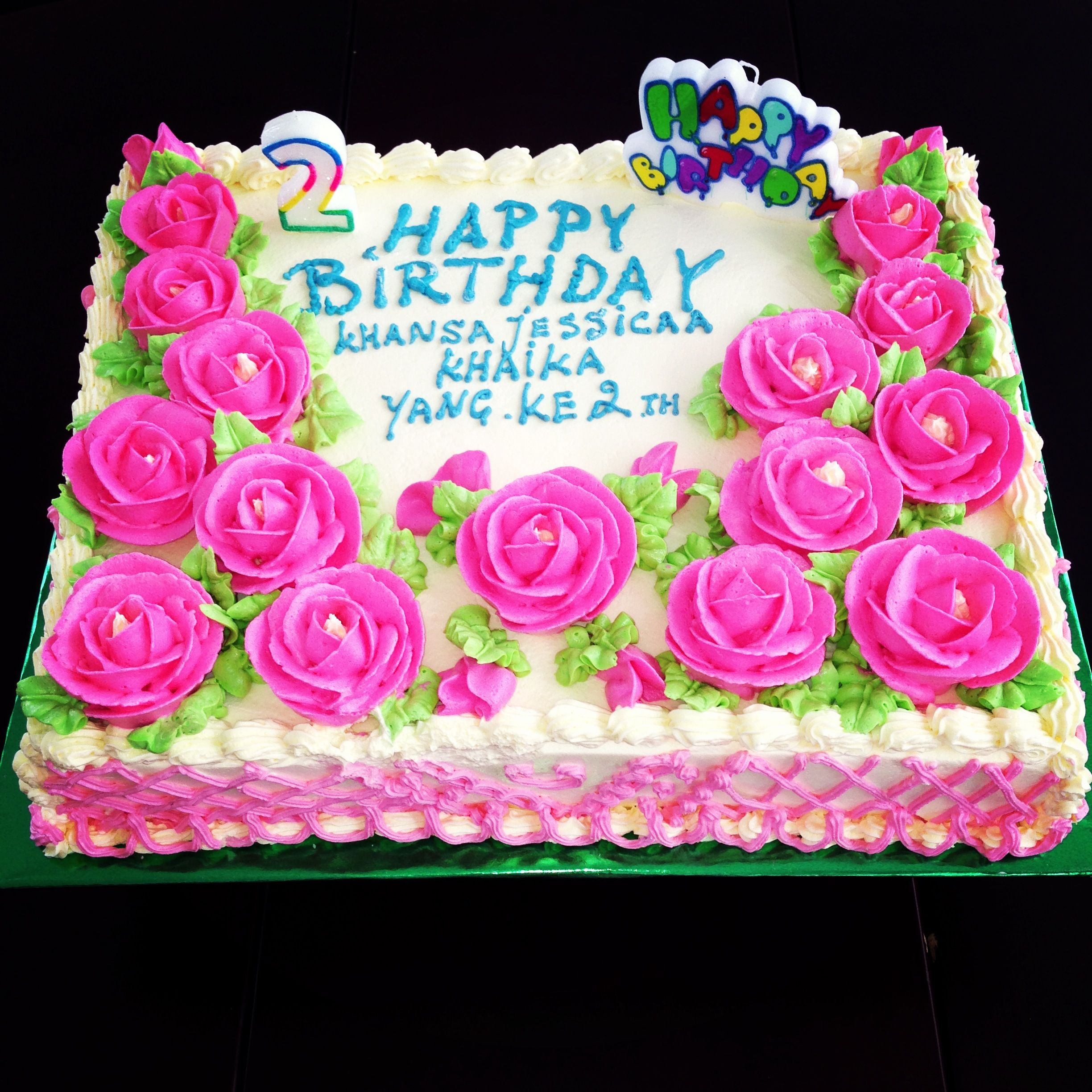 Khansa Pink Rose Birthday Cake