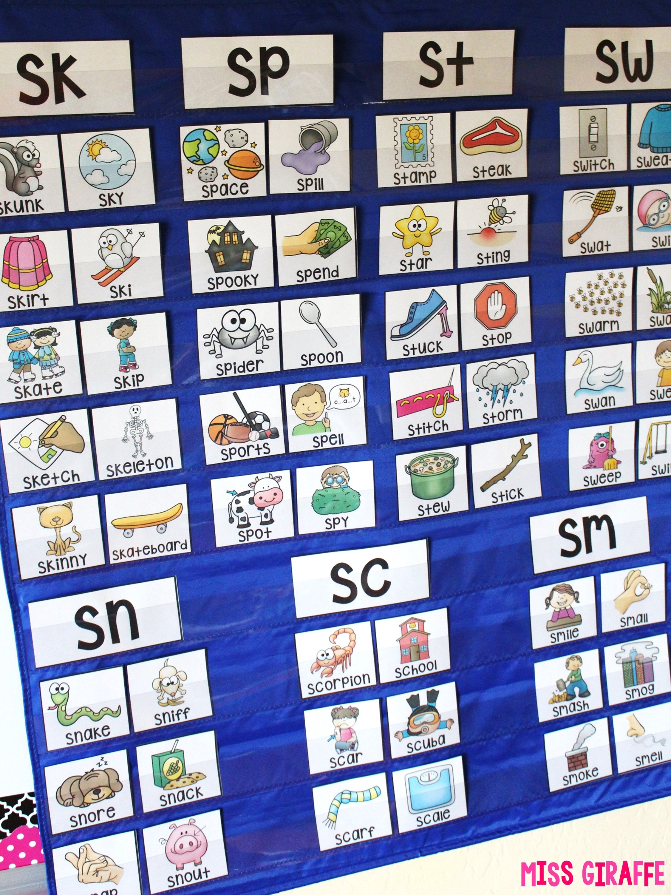 S Blends Activities For Pocket Chart Centers