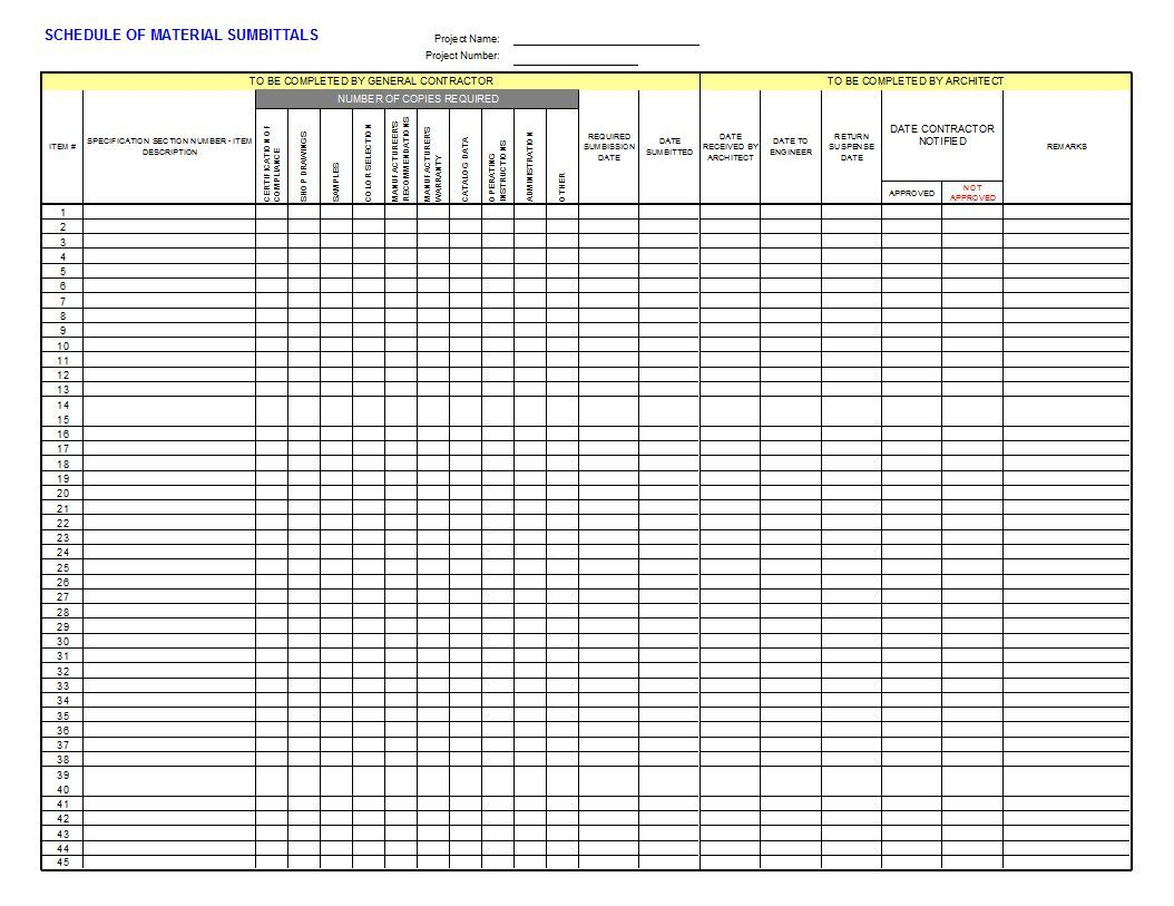 Submittal Log Template