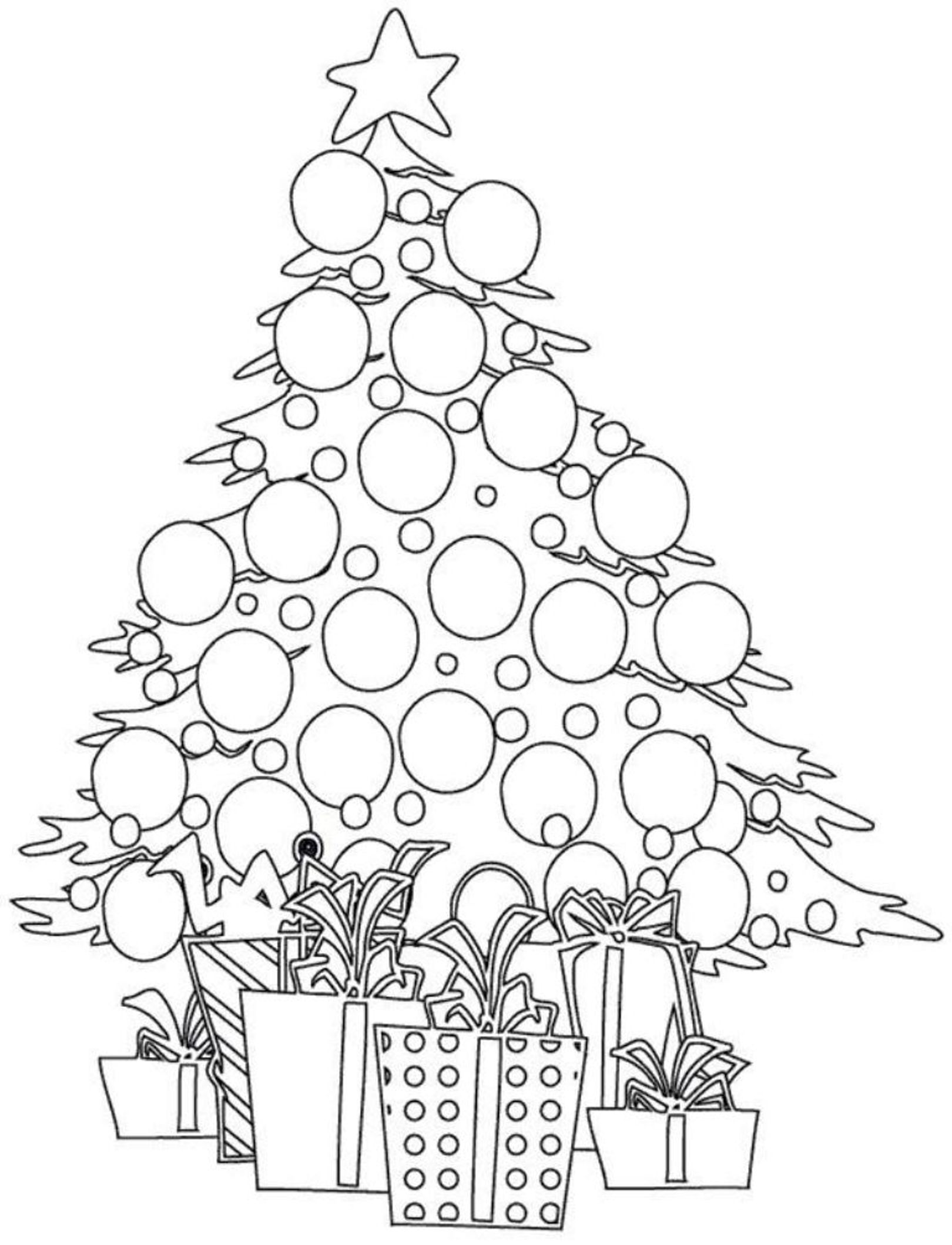 Christmas Tree And Presents Coloring Pages Christmas