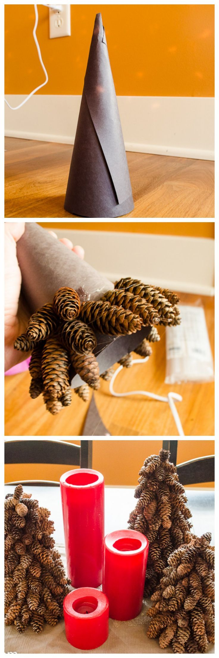 DIY pinecone Christmas trees so easy to do, and costs