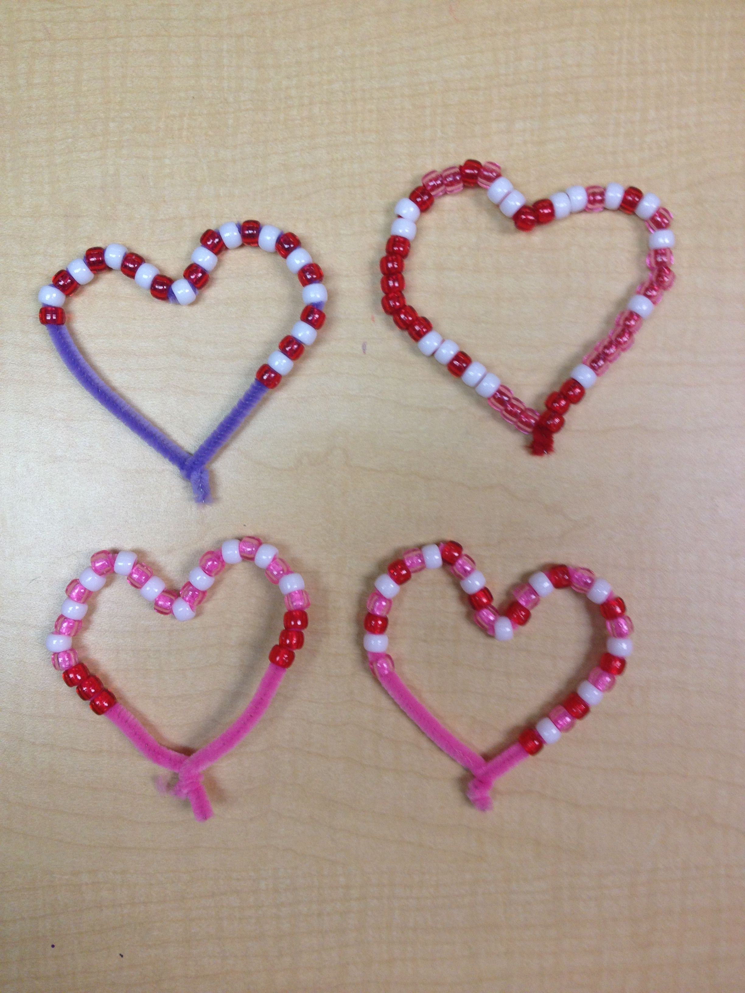 Valentine Bead Patterns With Pipe Cleaners Preschool Kindergarten Math Concepts