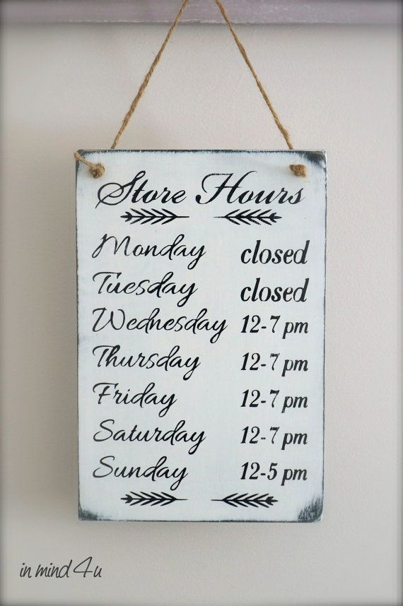 Business Hours Sign Custom Sign Store Hours Sign Wall