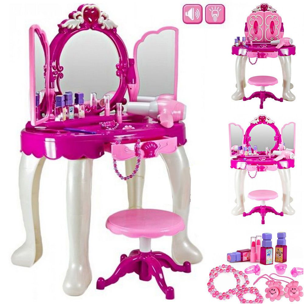 Large Girls Glamour Mirror Toy Game Dressing Table Play