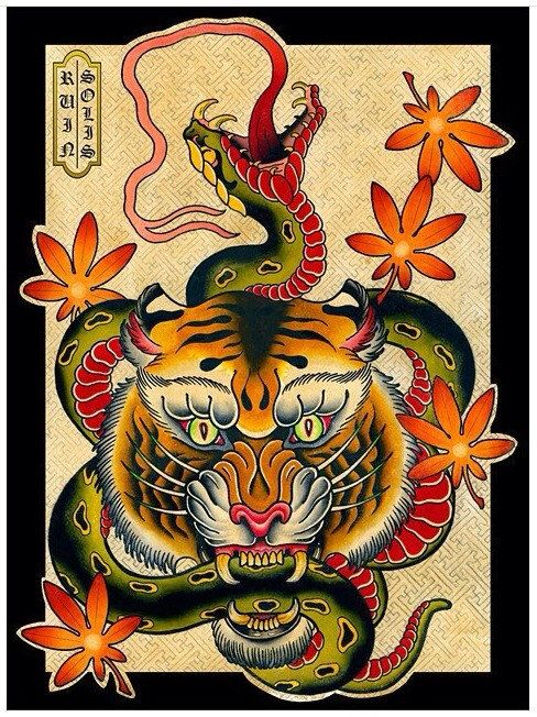 Snake vs Tiger American Traditional Japanese Tattoo di