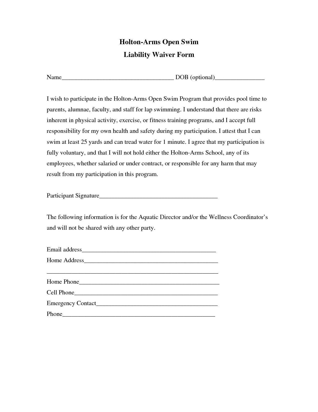 Free Liability Waiver Template free printable liability release – General Liability Waiver