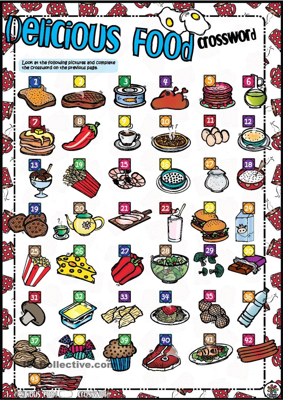 Delicious Food CROSSWORD English (crosswords