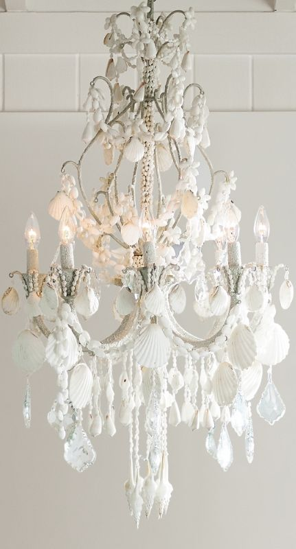 An Ethereal Symphony Of Cascading Crystals And Seashells Our Harbor Shell Chandelier Casts A Captivating Note In Any E