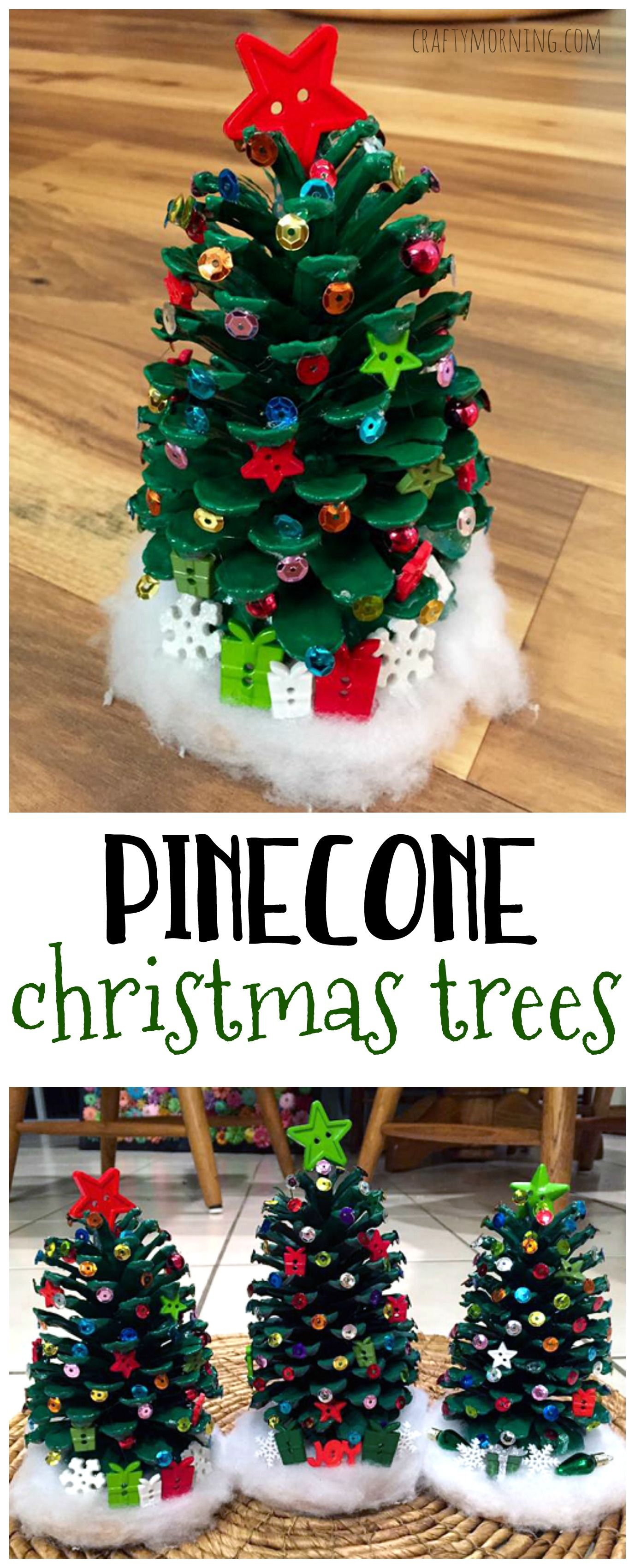 Make adorable pinecone christmas trees for a Christmas