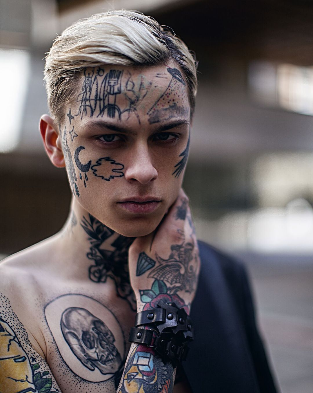 Cool face tattoo for young boy Model laviedekirill