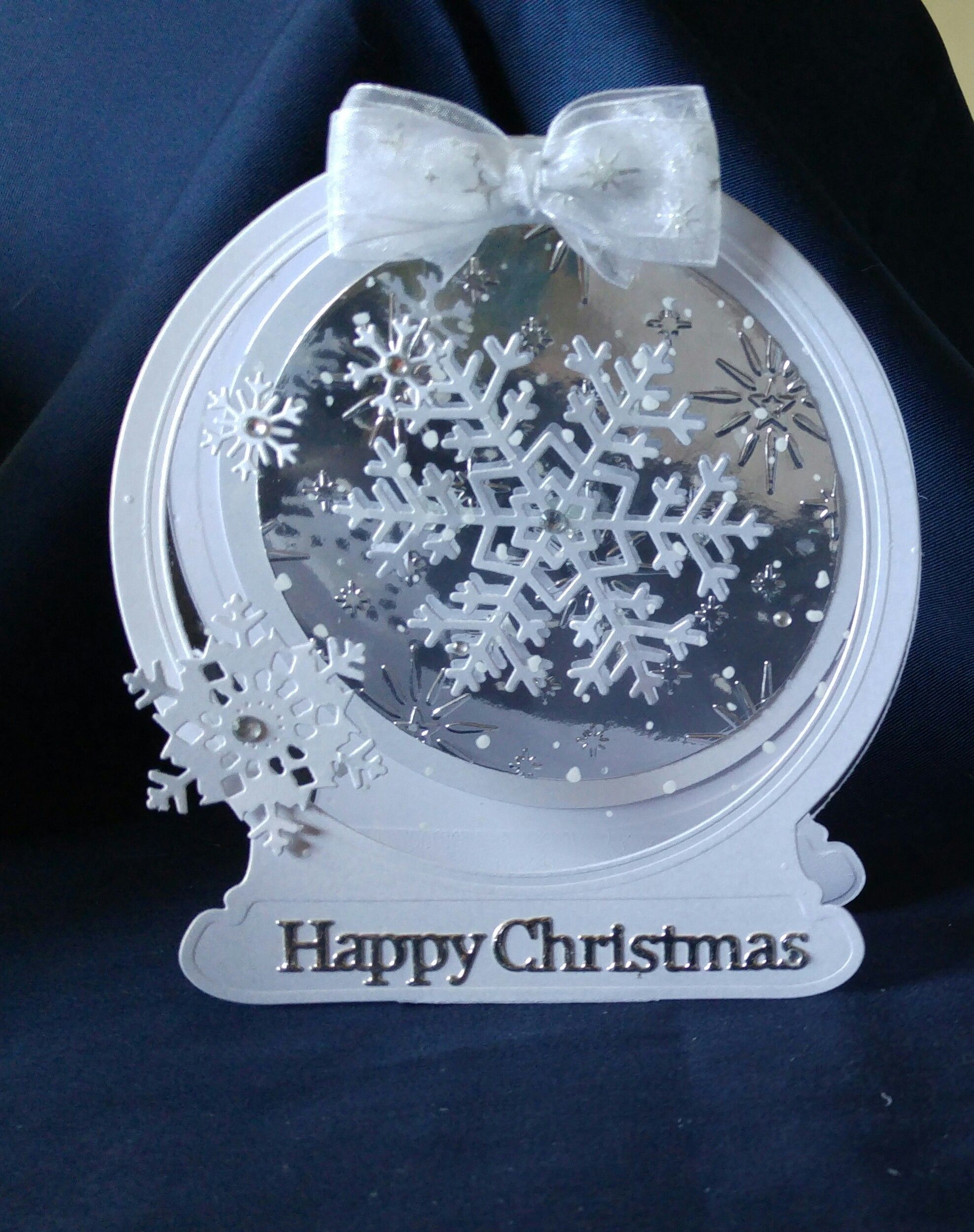 Tattered Lace Snowglobe and Snowflake card Christmas
