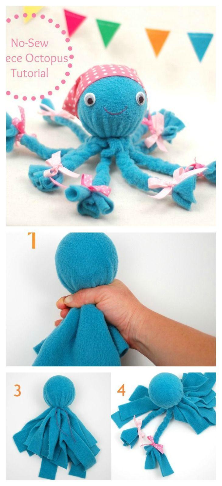 DIY NoSew Fleece Octopus Craft Octopus crafts, Craft
