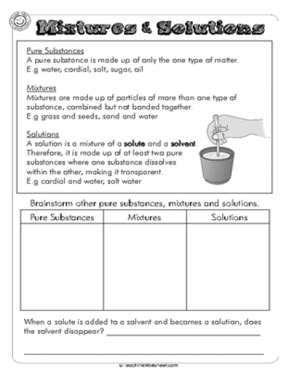 Mixtures Solutions Dms Pinterest Worksheets