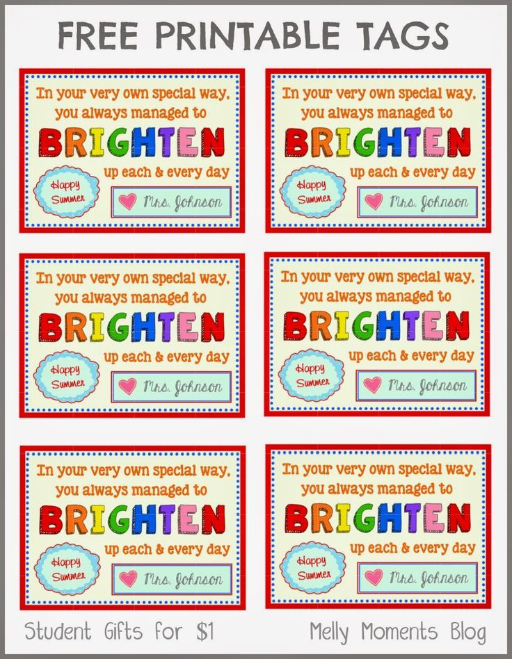 FREE End Of Year Gift Tag Printables From Teacher To