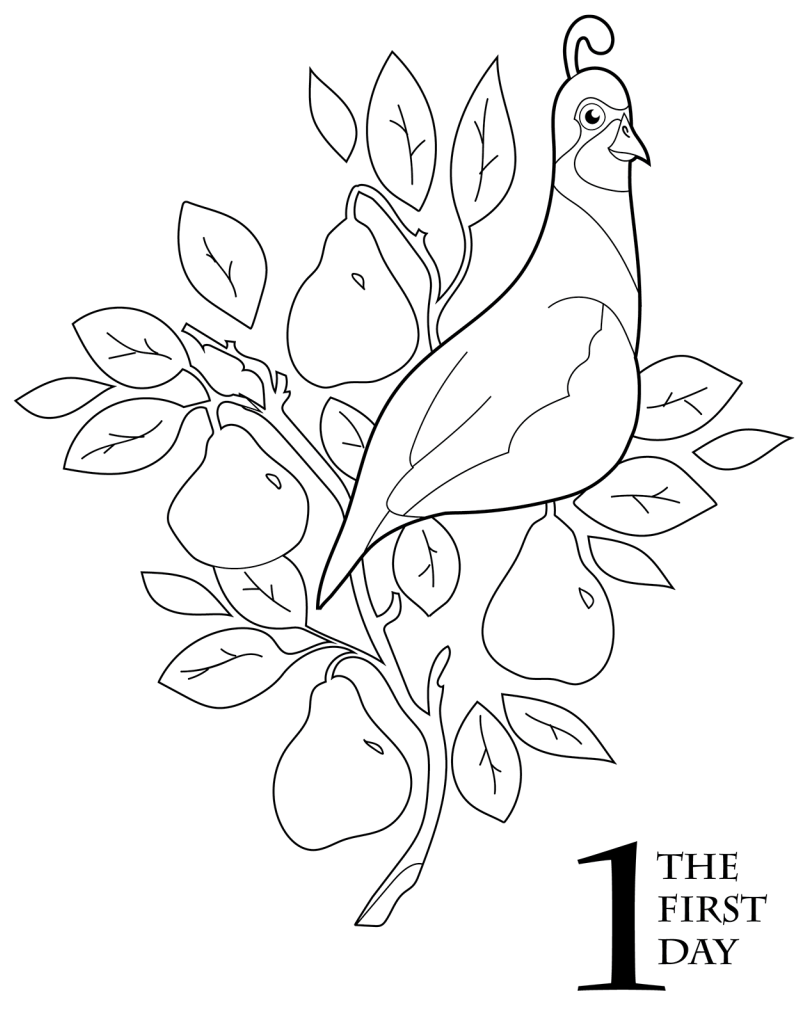 The 12 Days of Christmas Coloring Book Pear trees
