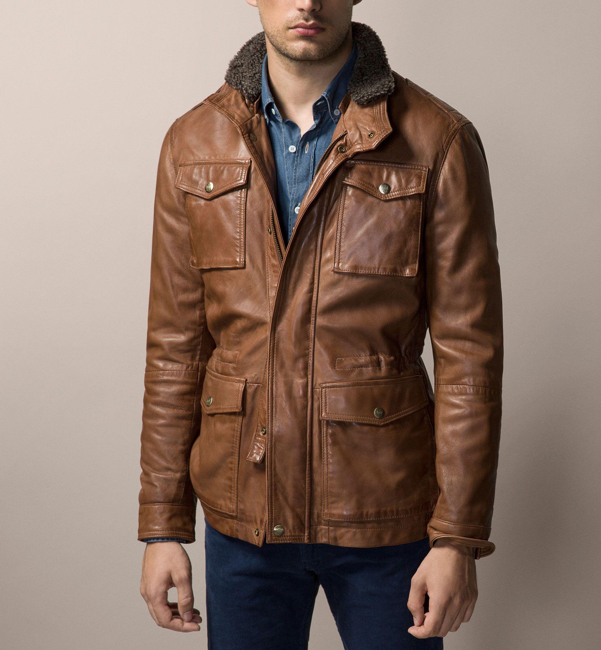 Massimo Dutti Nappa Leather Field Jacket Him Pinterest