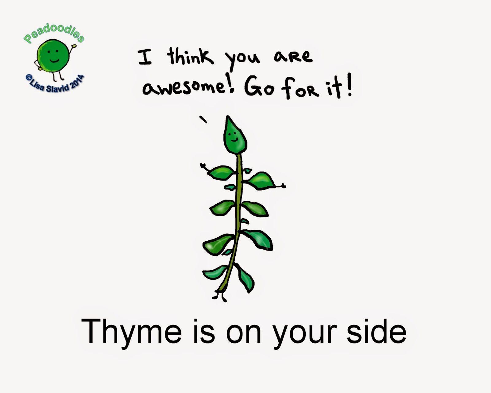 Encouragement Punning Peadoodles Thyme Food Herbs