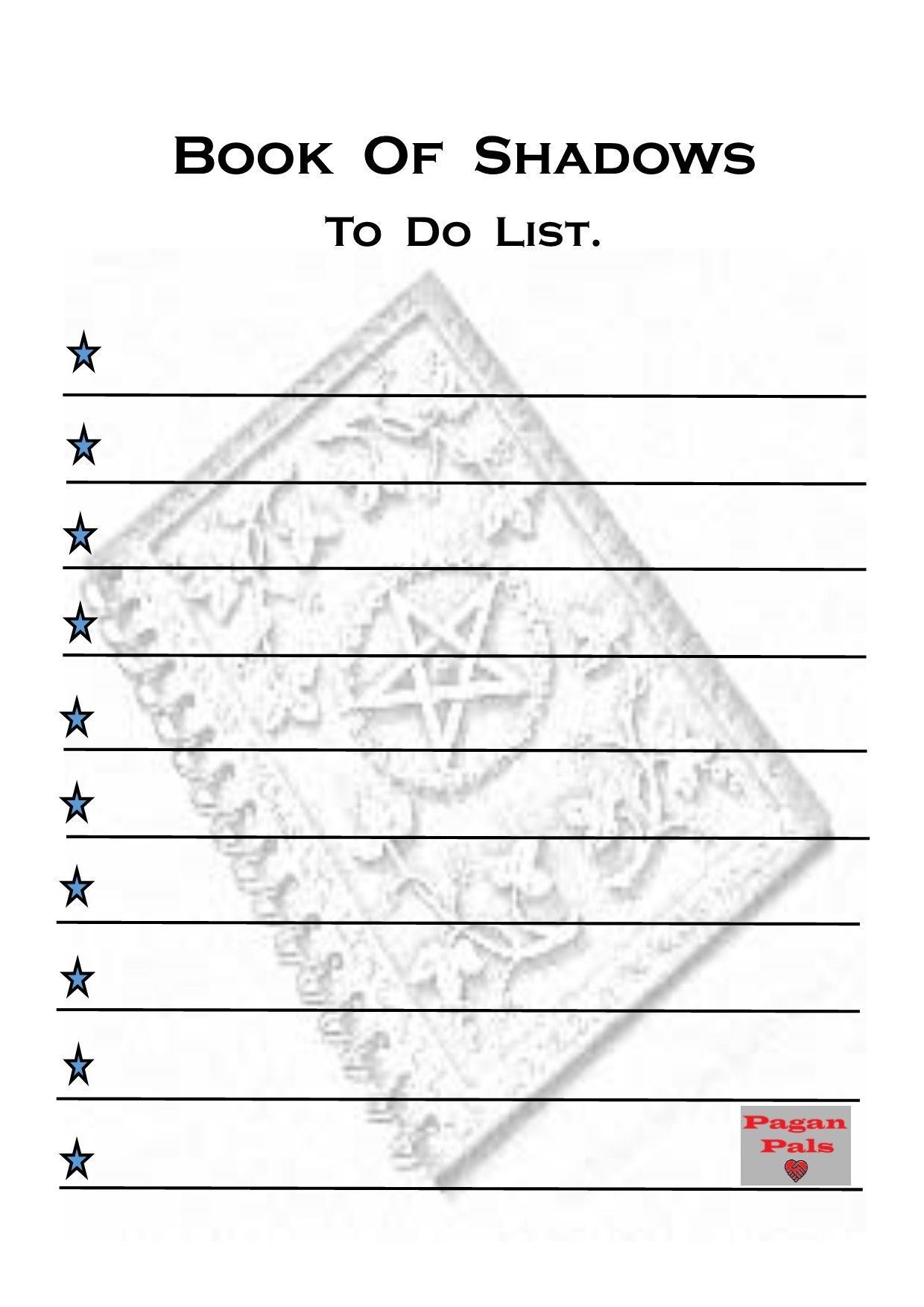 To Do List Printer Friendly Book Of Shadows Page