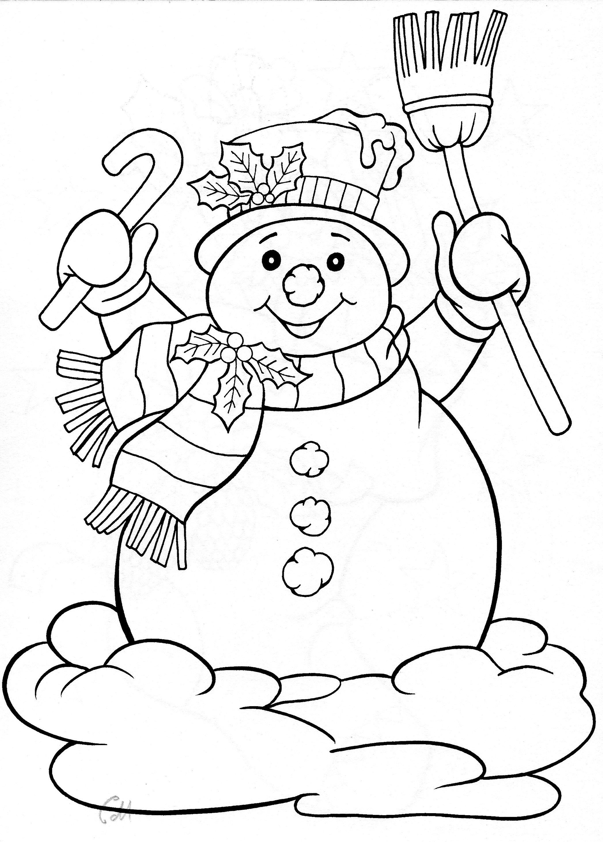 snowman for winter holiday Drawing template coloring