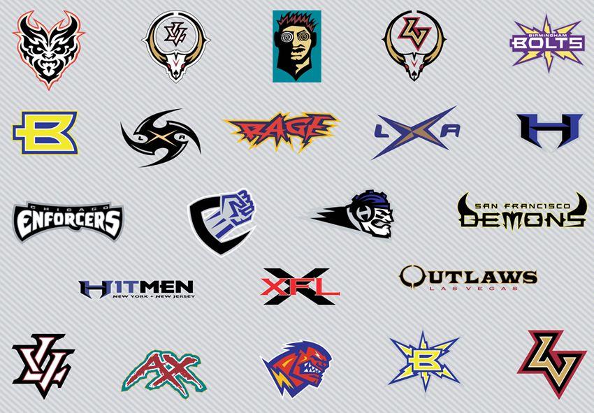 Vector art logos of the former XFL American Football
